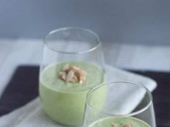 Green apple almond butter banana coconut oil smoothie