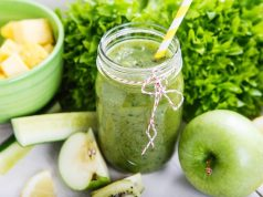 Fresh Organic Green Smoothie With Salad, Apple, Cucumber, Pineapple BloggerOfHealth