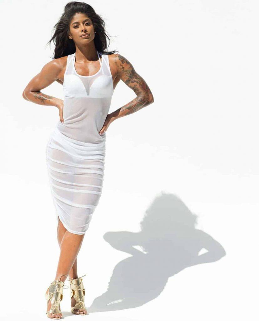 Massy Arias fitness girl in white