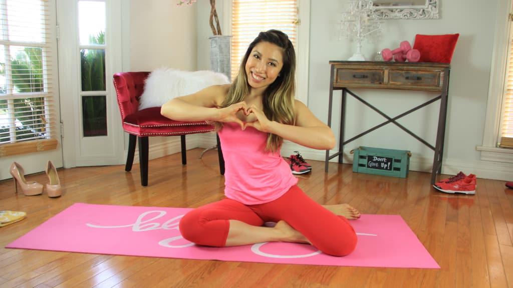 cassey ho fitness girl yoga red pants
