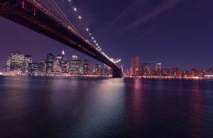 New York beautiful Brooklyn Bridge at night